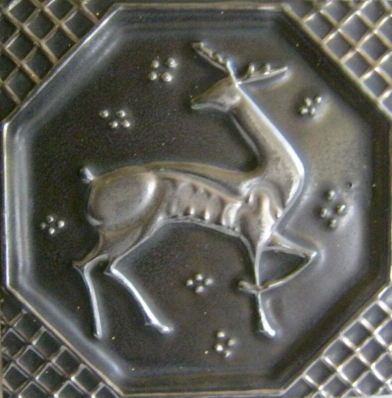 """AETCO Deer Tile Vintage American Encaustic Tile Black Silver Thick Old 6"""" x 6"""""""