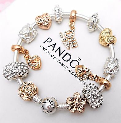 Authentic Pandora Silver Bangle Charm Bracelet With Gold Heart European Charms.