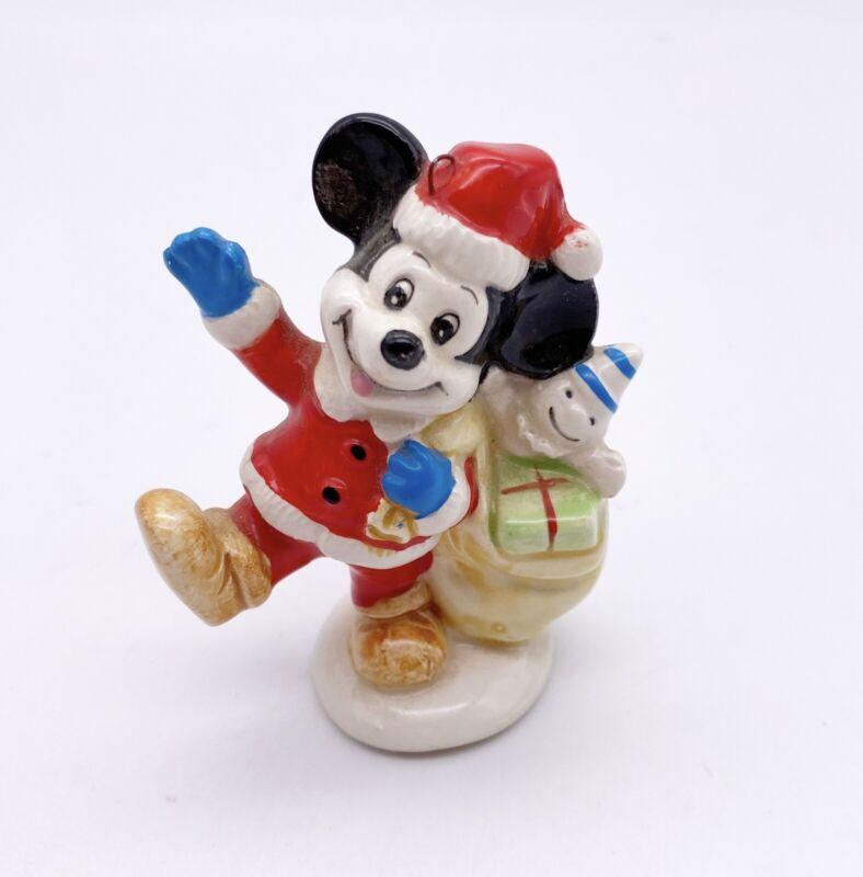 Vtg Mickey Mouse Santa Ceramic Ornaments Japan Walt Disney Productions