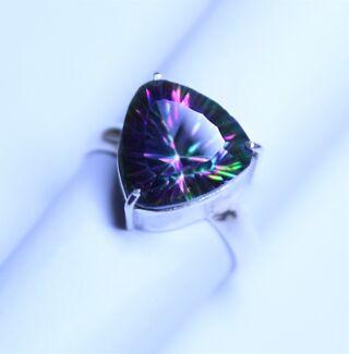 Trillion Cut Mystic Topaz in a Sterling Silver (925) Ring