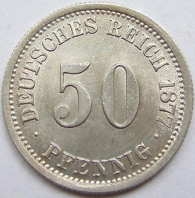 RARITÄT! 50 Pf 1877 F in STEMPELGLANZ SEHR SELTEN !!!