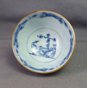 Chinese Antique 18th century Blue & White Teabowl  Man & Bird - Nanking Cargo ?