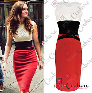 Womens-Celebrity-Midi-Bodycon-Ladies-Red-Pencil-Evening-Slimming-Panel-Tea-Dress
