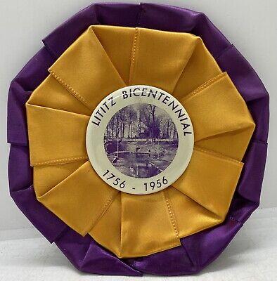 Vintage 1956 Lititz, Pennsylvania Bicentennial Collectible Souvenir Pin Ribbon