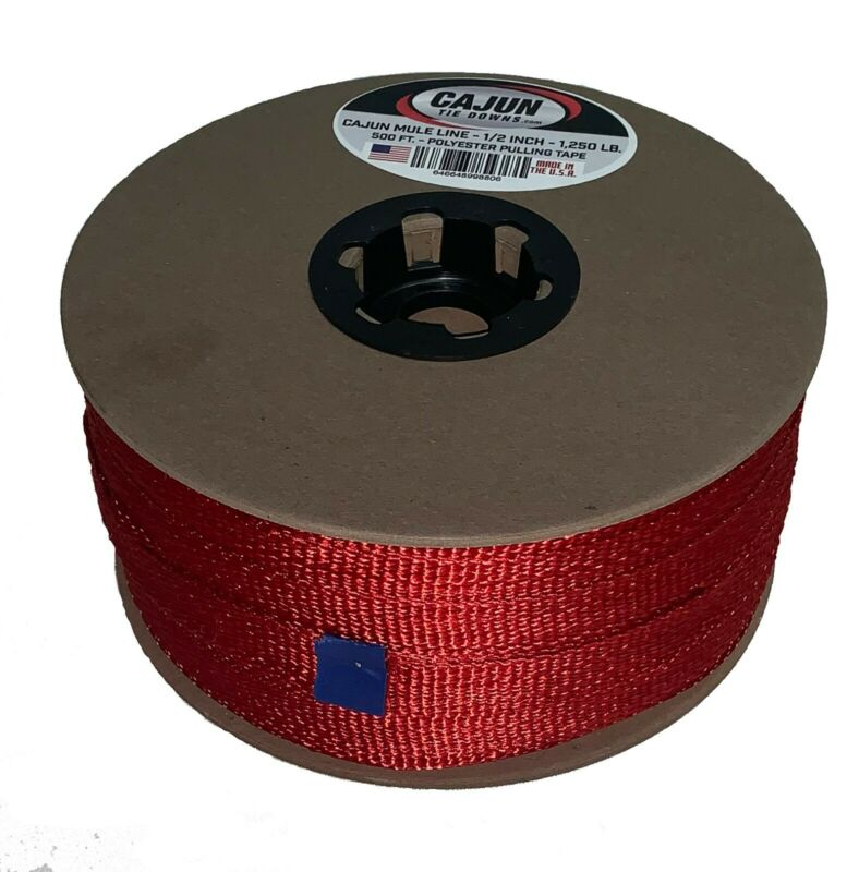 Cajun Mule Line - 1/2 Inch Red - 1,200 lb. - Pull Tape - Polyester Pulling Tape