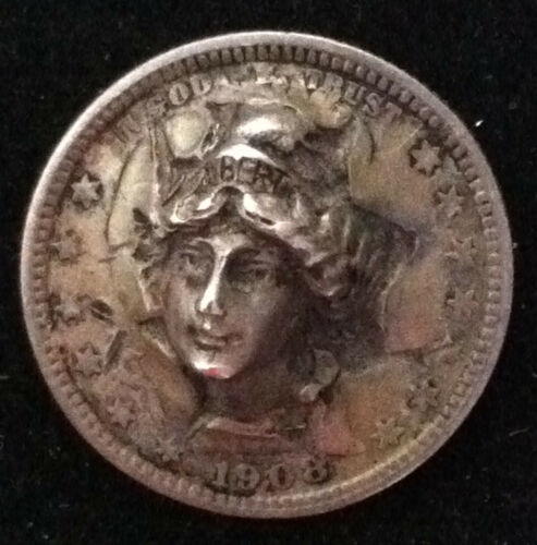 1908 Barber Quarter - Vintage 3D Pop Out - Repousse - Cool Coin Art - Very Nice