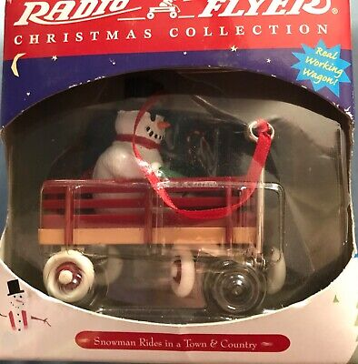 Radio Flyer Little Red Wagon Snowman Christmas Tree Ornaments