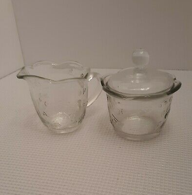 Vintage Anchor Hocking Savannah Clear Glass Creamer and Sugar Bowl Set with Lid