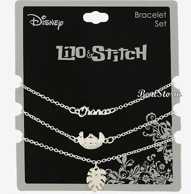 Disney Lilo & Stitch Silver Tone Dainty Charms Ohana Leaf 3 Piece Bracelet Set - Lilo Leaf