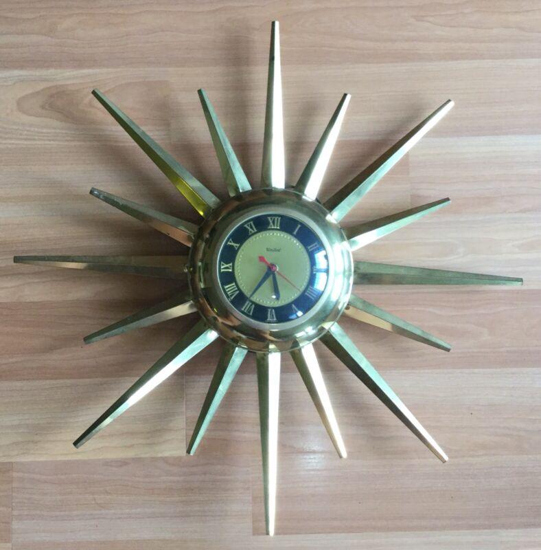OLD VTG MID CENTURY STARBURST SUNBURST UNITED WALL CLOCK PART REPAIR METAL STAR