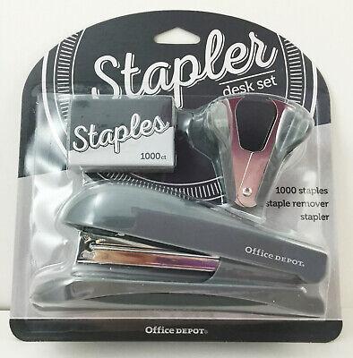 Office Depot Stapler Set Half-strip Stapler Staple Remover 1000 Staples Gray