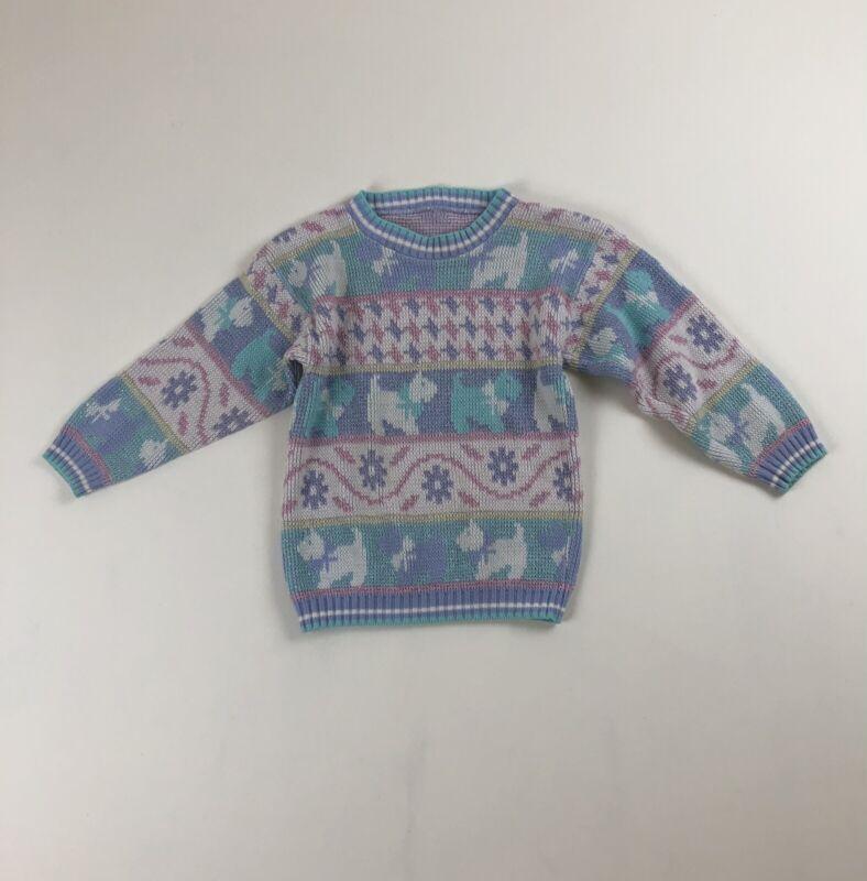Girls Vtg 80s Heartworks Scottie Dogs Hearts Fairy Kei Kawaii Pastel Sweater