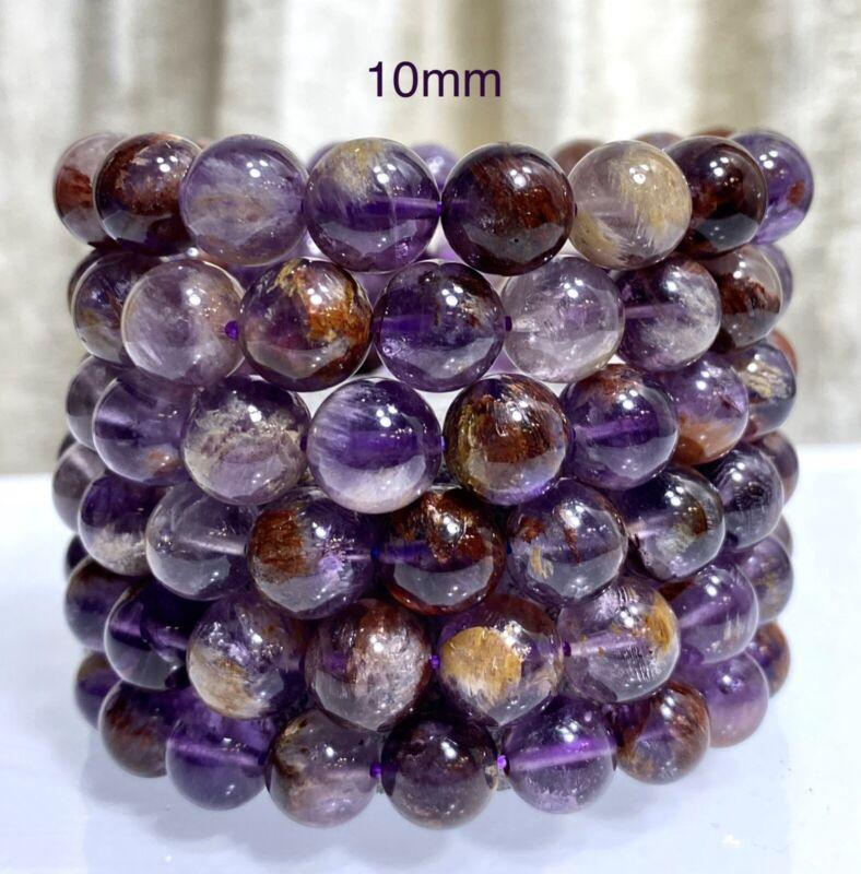 "Wholesale 6 Pcs Natural Super Seven 10mm 7.5"" Crystal Healing Stretch Bracelet"