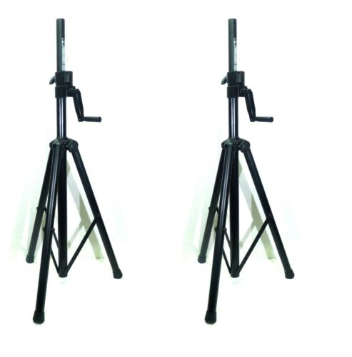 Two (2) LASE 201C Crank-up Speaker Stand with Folding Hand Crank.