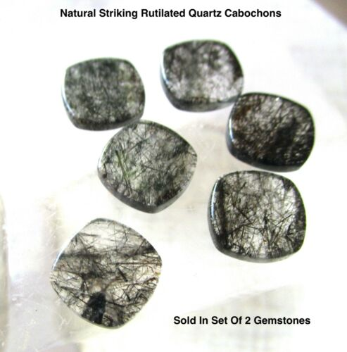 Black Rutilated Quartz Cabochons, 10mm Cushion Square, 2 Gemstones, Tourmalated