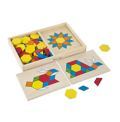 Melissa  Doug Pattern Blocks and Boards - Classic Toy With 120 Solid Wood Shapes