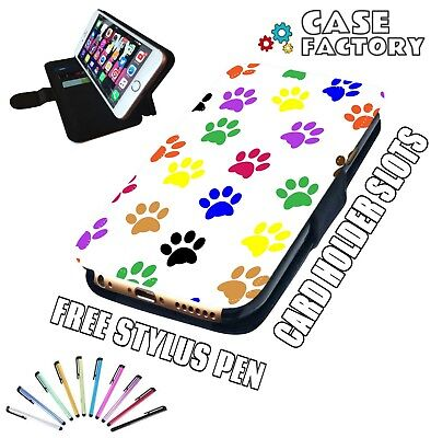(CUTE DOG KITTEN CAT PUPPY PAW PRINTS - Leather Flip Wallet Phone Case Cover )