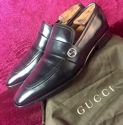 05153db879b  680.00 Mens Black Gucci Leather GG Loafers Sz 7 G   8 D US Made In