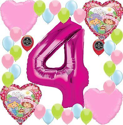 Strawberry Shortcake Party Supplies Birthday Balloon Decoration Bundle (4th B... - Strawberry Shortcake Decorations