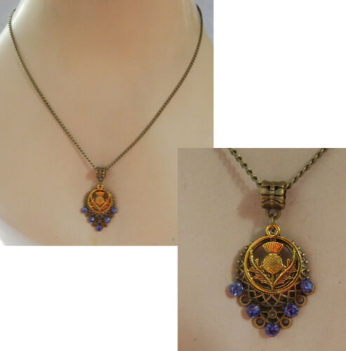 Thistle Necklace Celtic Scottish Pendant Gold Chain New Jewelry Handmade Knot