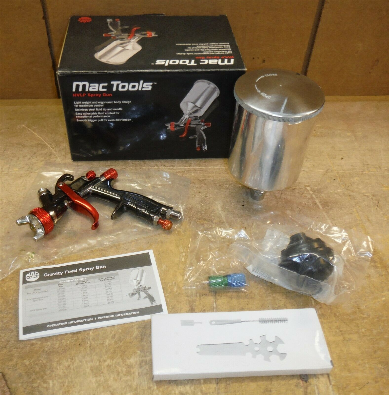 $ 57 - ?USED? Mac Tools SG1300-14 • HVLP Paint Gun 1.4 mm in Box FREE SHIP bw5