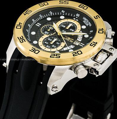 Invicta Mens 51mm I Force Chronograph Carbon Fiber Dial 18K Gold IP SS PU Watch  Carbon Fiber Chronograph Watch