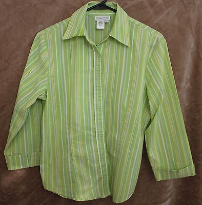 Coldwater Creek 3/4 Sleeve Green Striped Shirt Button Down Size Small S