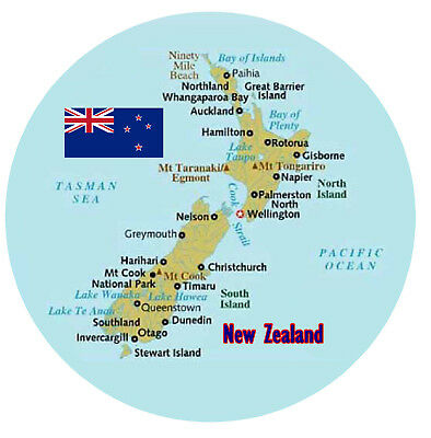 NEW ZEALAND MAP / FLAG - ROUND SOUVENIR NOVELTY FRIDGE MAGNET - NEW / GIFTS
