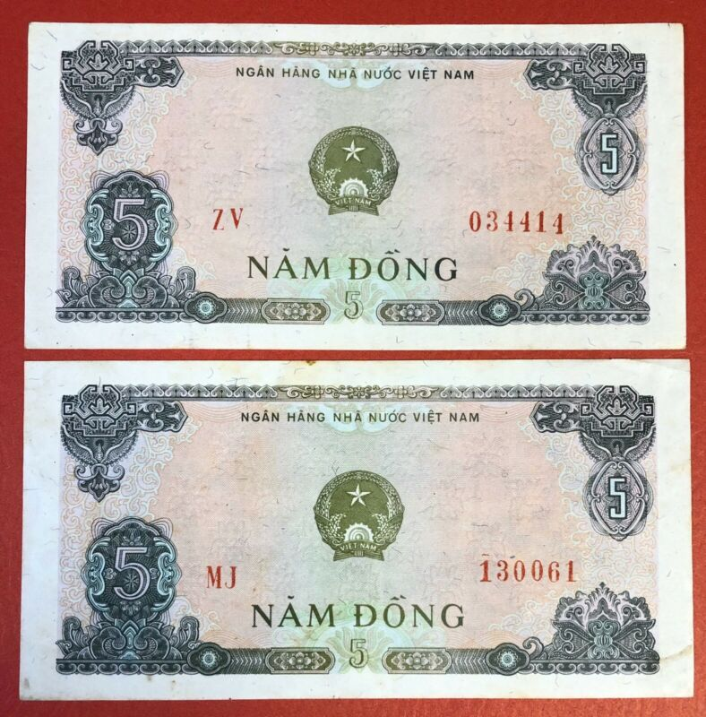 VIETNAM Lot Of 2 Notes x 5 DONG 1976 PICK# 81a VF-XF. (#2149)