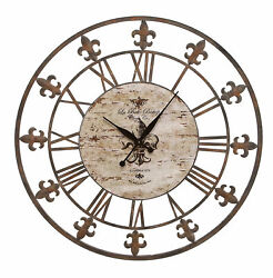 Unique Wall Clock Brown Metal Frame Fleur De Lis Accent Decor 13813