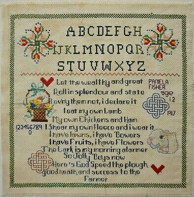 """EARLY 20TH CENTURY """"SUCCESS TO THE FARMER"""" SAMPLER BY PAMELA PHILLIPS - 1917"""