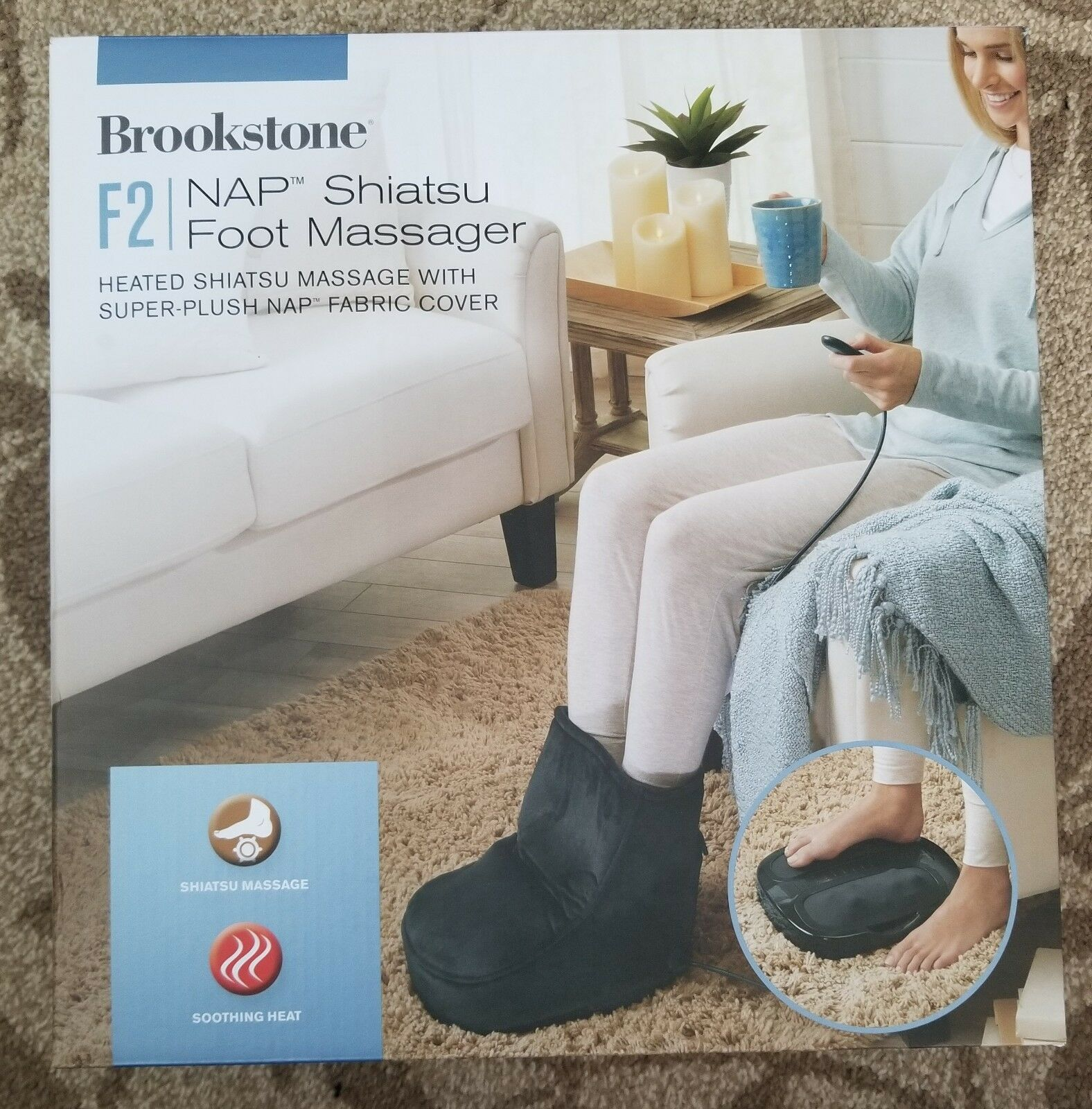 Brookstone Shiatsu Foot Massager F2 NAP Heated  Fabric Cover