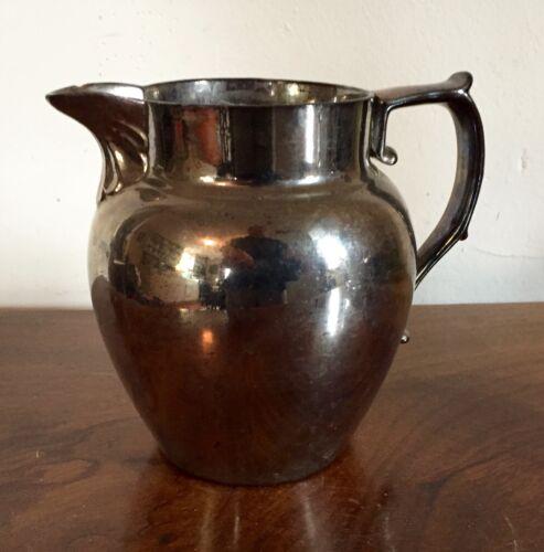 Antique 19th c. Porcelain Pitcher Cream Jug Creamer Silver Luster Lustre