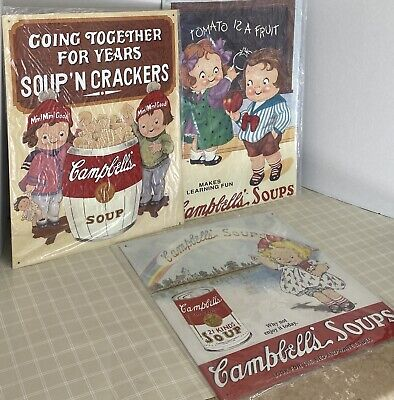 3 1993 Vintage Campbell's Soup Tin Nostalgic Signs #2, #7 & #10 In Series Of 20