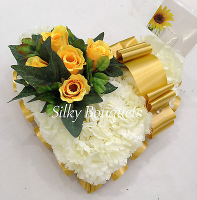 Artificial Silk Funeral Flower Heart Tribute Wreath Bouquet Mum Dad Nan Memorial