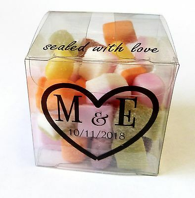 100 x PERSONALISED WEDDING FAVOUR CLEAR TRANSPARENT 5CM BOXES MACARON SWEETS - Macaron Favor Boxes