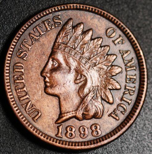 1898 INDIAN HEAD CENT -With LIBERTY & Near 4 DIAMONDS - AU UNC