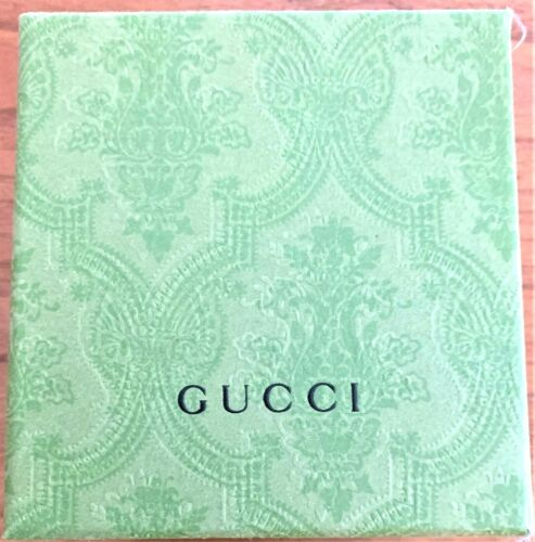 Genuine GUCCI Empty Watch Box Case Authentic Green Paisley Cover Lid Pillow Bow