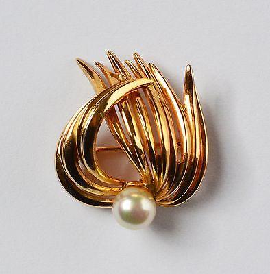 """Grosse """" Firma Grossé """" Pforzheim Brosche vergoldet mit einer Perle 1963"""