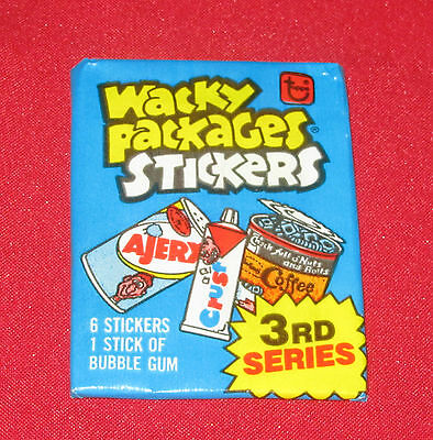 1980 VINTAGE WACKY PACKAGES SERIES 3 UNOPENED BLUE PACK IN EXCELLENT CONDITION