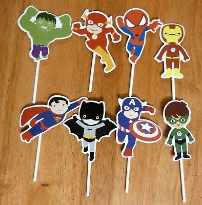 Superhero Men Boys One-Sided Cake/Cupcake Toppers Party Decoration Set Of 8 - Superhero Baby Shower Decorations
