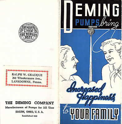 Deming Water System Pumps Small Vintage Illustrated Brochure Deming Co Salem Oh