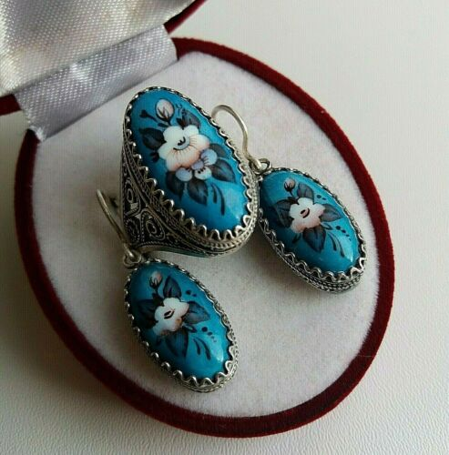 ANTIQUE RING EARRINGS Rostov Enamel Russian Chic Hand Painted Blue Flower Size 8