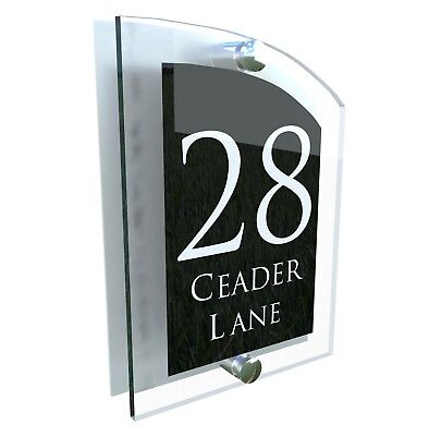 House Number Plaque Glass Effect Acrylic Sign Door Plate Name Wall Display