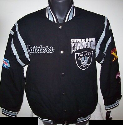 Oakland Raiders 3 Time Super Bowl Championship Jacket New Style  M L Xl 2X