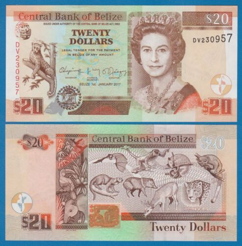 Belize 20 Dollars P 69f New Date 2017 UNC Low Shipping! Combine FREE! ( P 69 f )