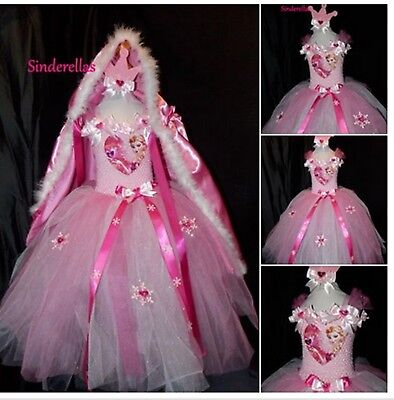 Elsa Frozen (Inspired) Pink Sparkly Party Tutu Dress & cape Handmade ages 1-11 ()