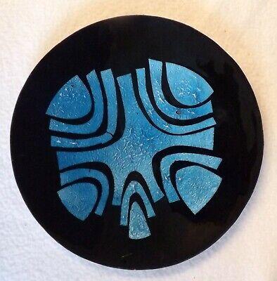 Vintage Enamelled Metal Plate, Abstract Design, Turquoise & Black, 18cm Diameter
