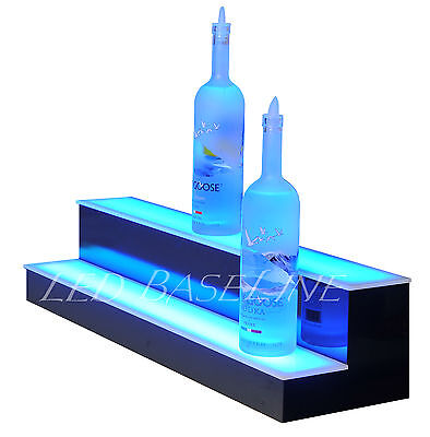 30 2 Tier Step - Led Lighted Back Bar Liquor Bottle Shelf Glowing Display Stand