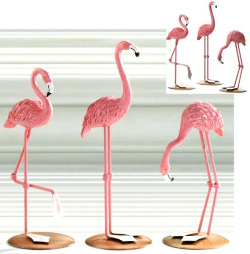 Set of 3 Pcs ** TABLETOP FLAMINGO SCULPTURE FIGURINE TRIO DECOR SET ** NIB